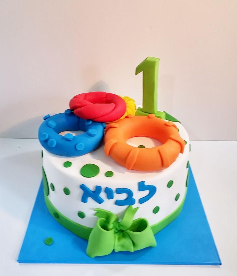 עוגת יום הולדת שנה מבצק סוכר