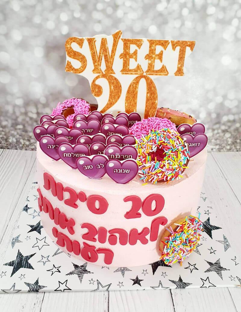 עוגת יום הולדת 20 סיבות עם דונאטס וסוכריות
