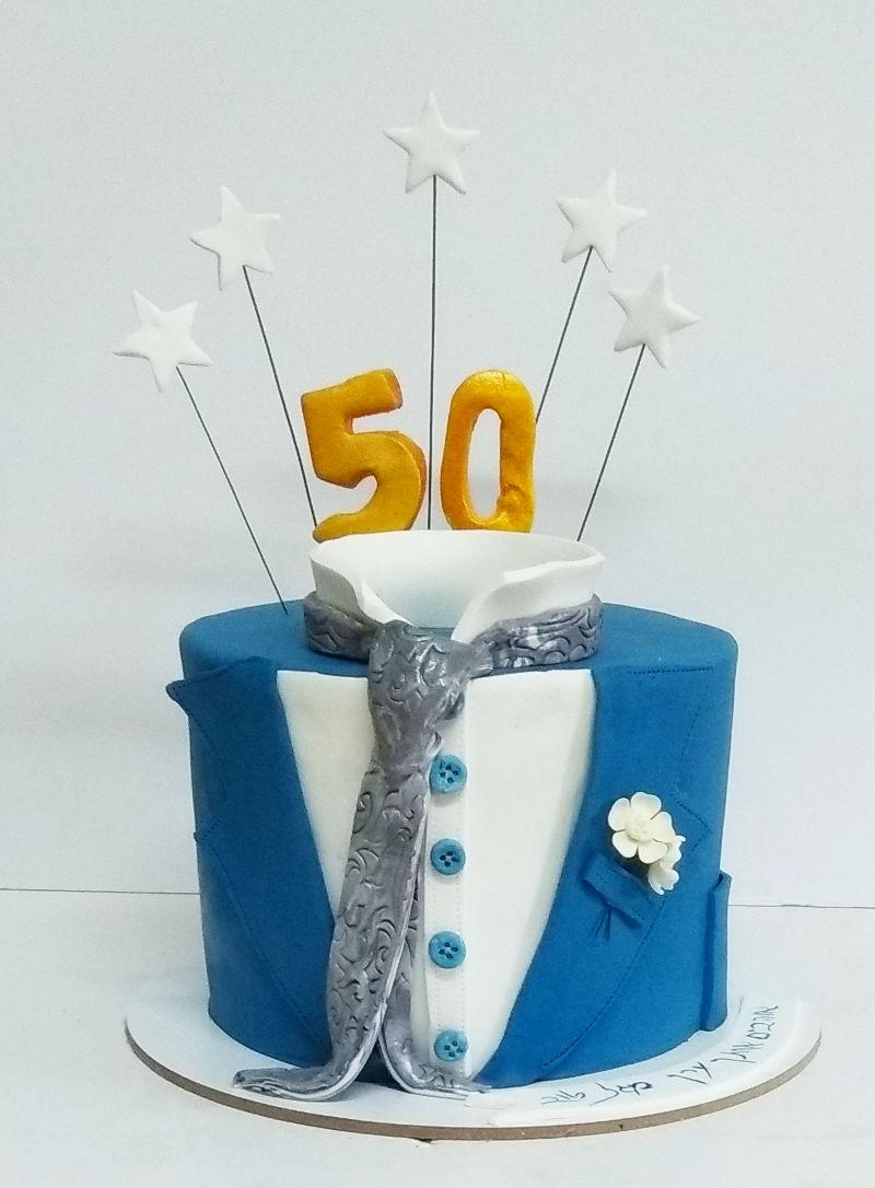 עוגת יום הולדת 50 מבצק סוכר