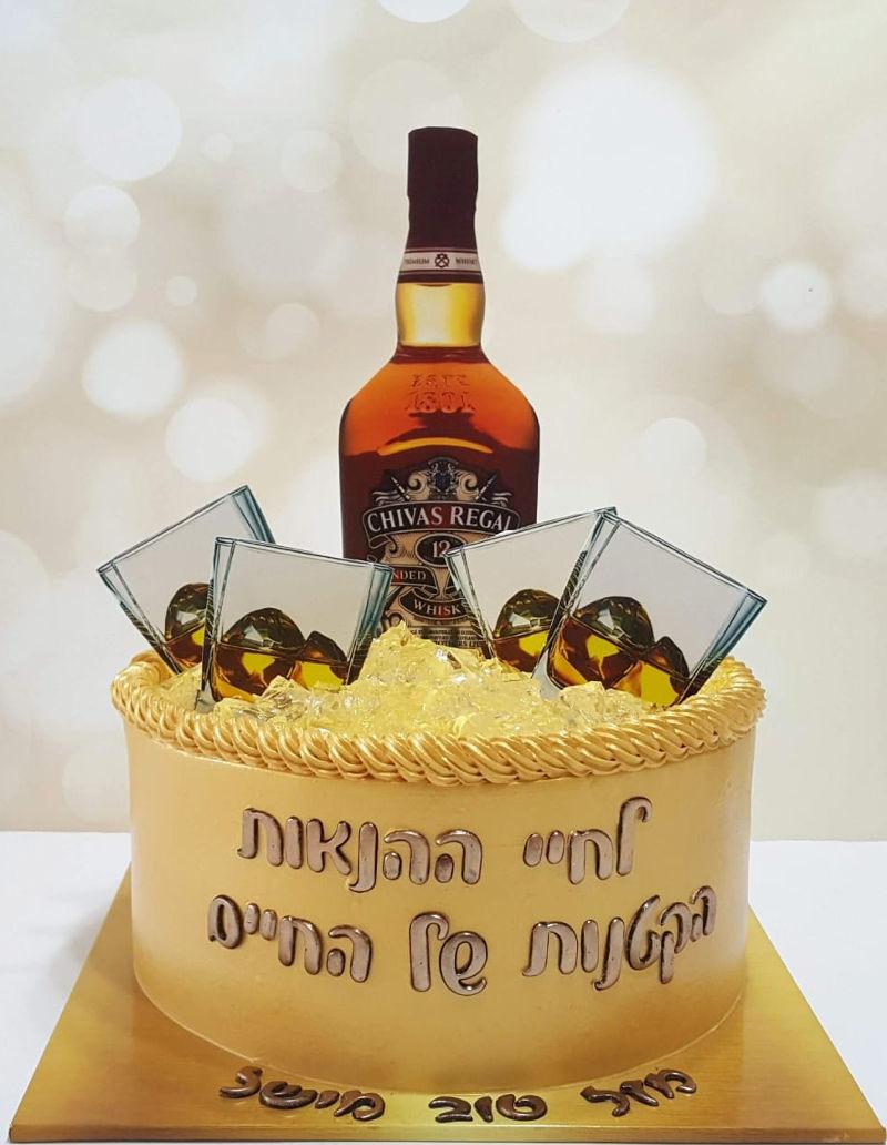 עוגת יום הולדת לגבר ויסקי