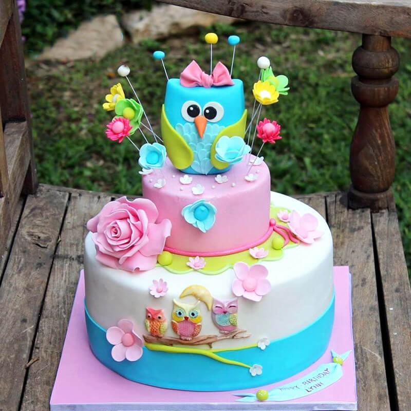 עוגת ינשוף מבצק סוכר