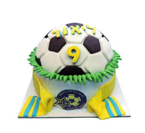 עוגת כדורגל מבצק סוכר