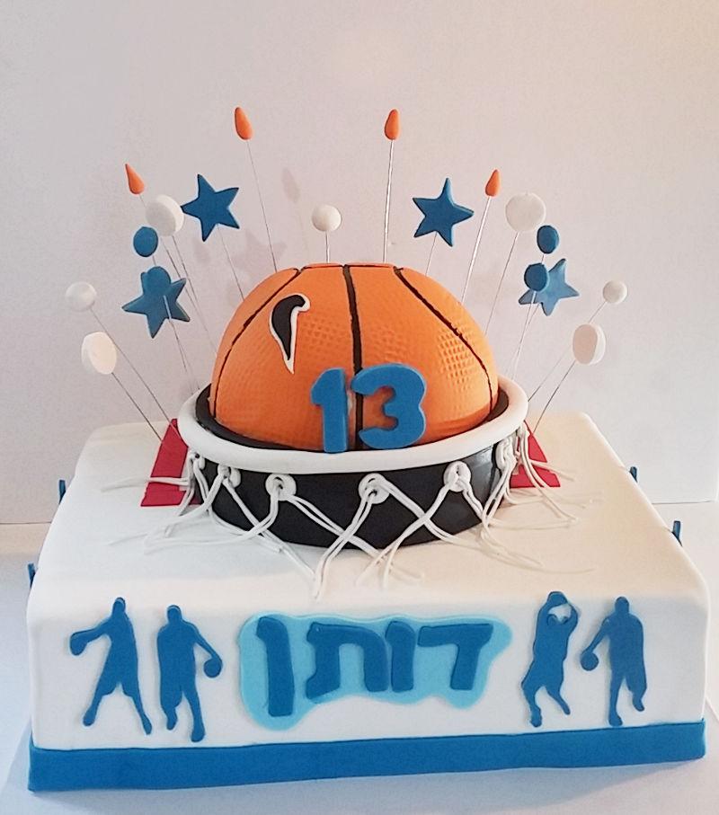 עוגת כדורסל לבר מצווה מבצק סוכר