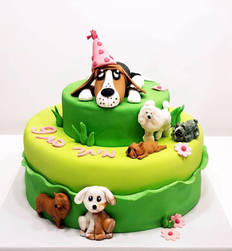 עוגת כלבלבים מבצק סוכר