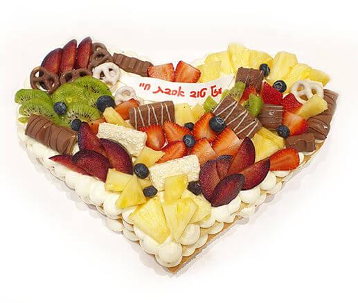 עוגת לב ופירות