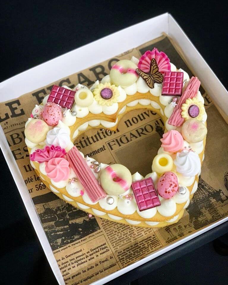 עוגת לב ורודה