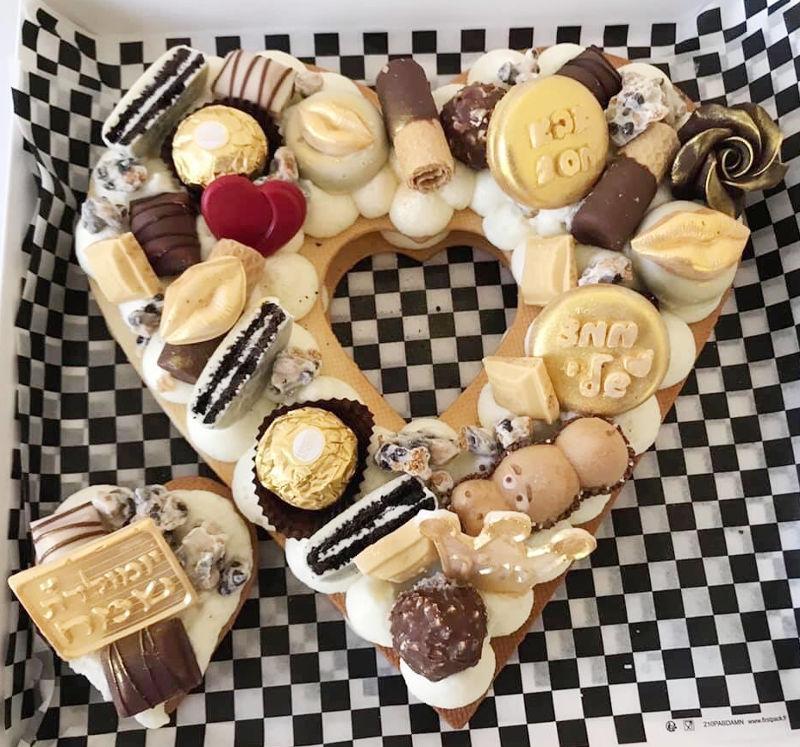 עוגת לב ושוקולדים ליום הולדת