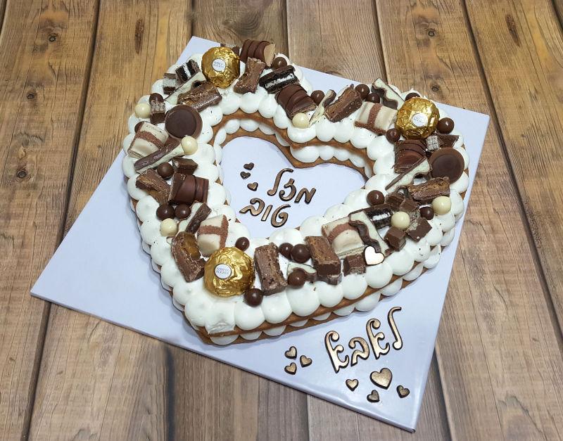 עוגת לב ושוקולדים ופירות