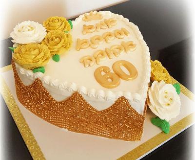 עוגת לב מעוצבת ליום הולדת מבוגרים 60