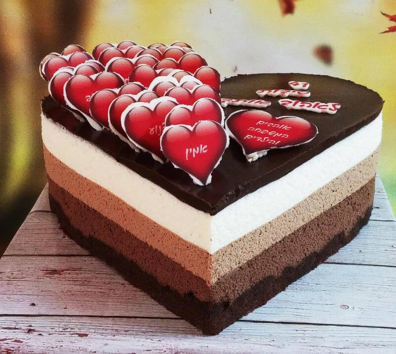 עוגת לב טריקולד עם כל הסיבות לאהוב אותך