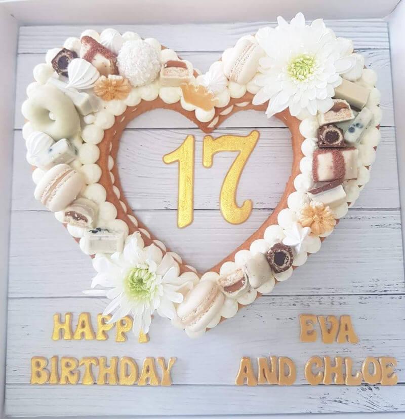 עוגת לב עם שוקולדים ליום הולדת