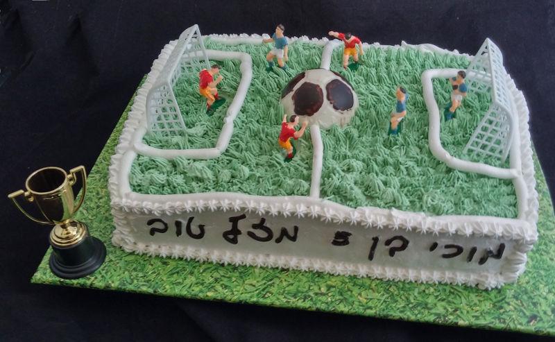 עוגת יום הולדת זילוף מגרש כדורגל