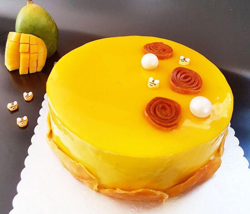 עוגת מוס גבינה ומנגו