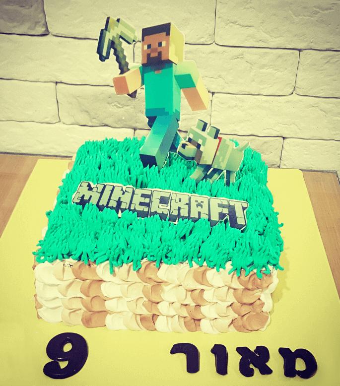 עוגת יום הולדת מיינקראפט