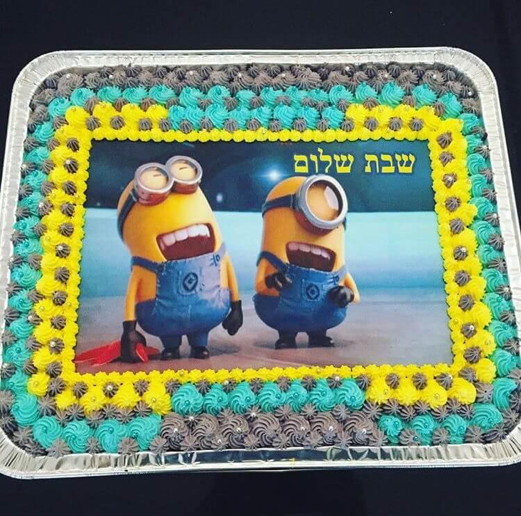 עוגת מיניונים ליום הולדת מלבנית