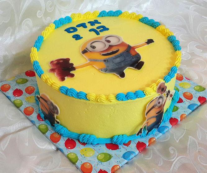 עוגת מיניונים זילוף ליום הולדת