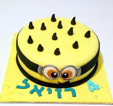 עוגת יום הולדת מיניונים מבצק סוכר