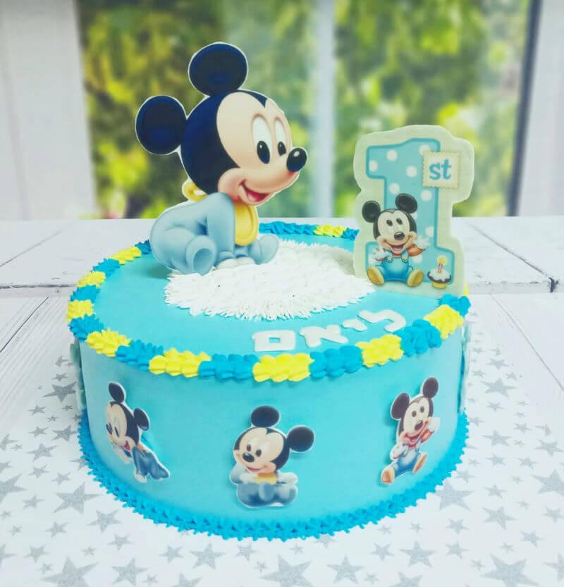 עוגת מיקי מאוס מעוצבת לגיל שנה