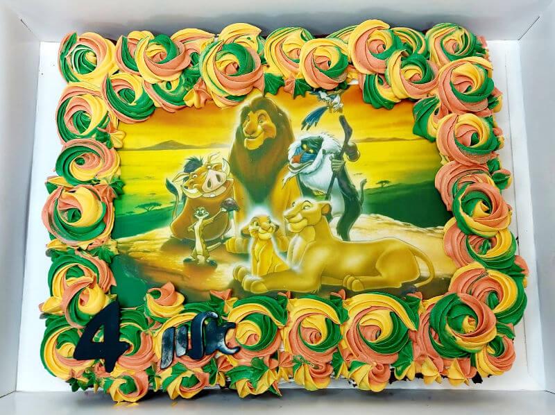 עוגת מלך האריות מלבנית לגן