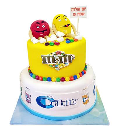 עוגת ממתקים m&m