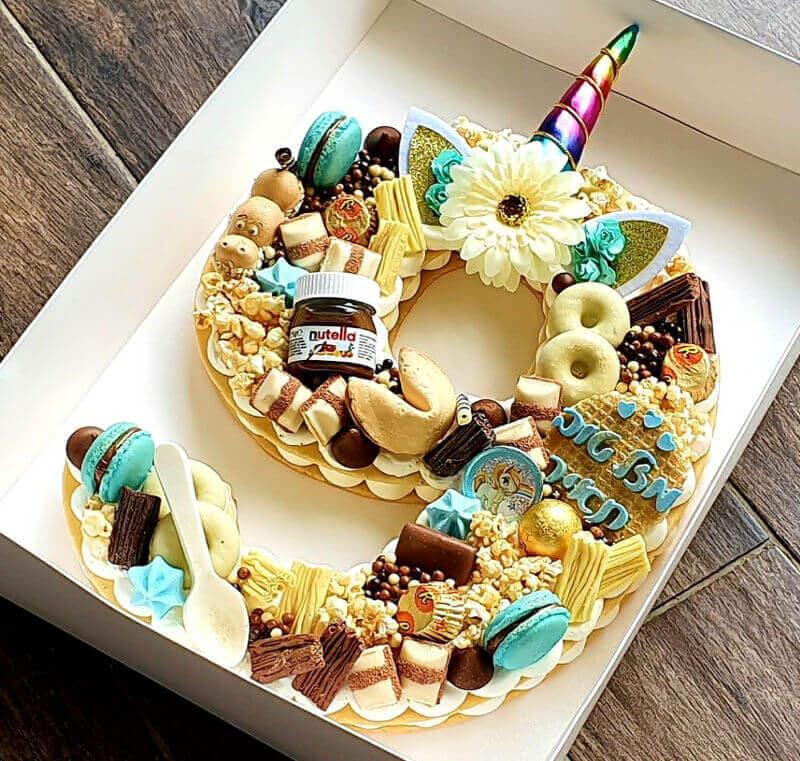 עוגת מספרים בעיצוב חד קרן