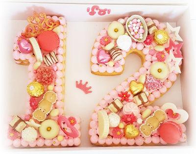 עוגת מספרים ופירות לבת מצווה