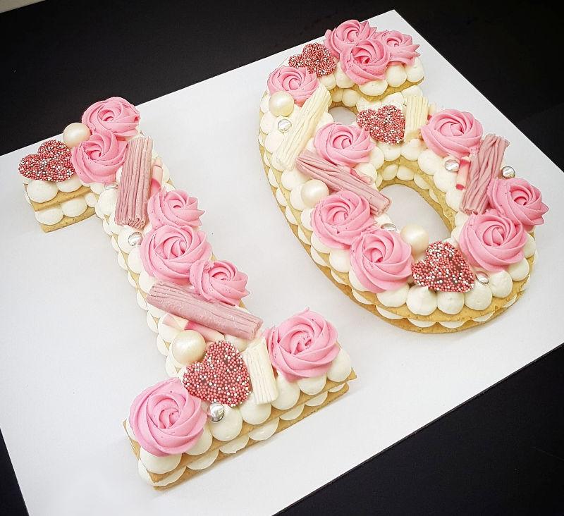עוגת מספרים ורודה 16