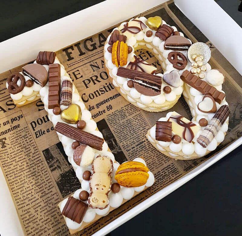 עוגת מספרים ושוקולדים לגיל 19