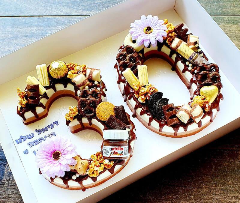 עוגת מספרים טריקולד לגיל 30