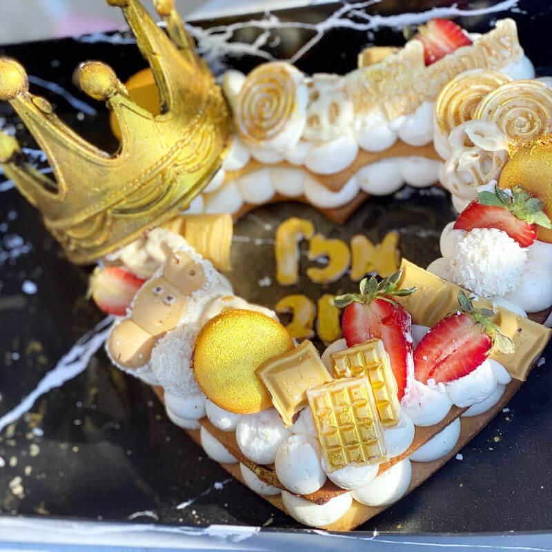 עוגת מספרים לב ליום הולדת
