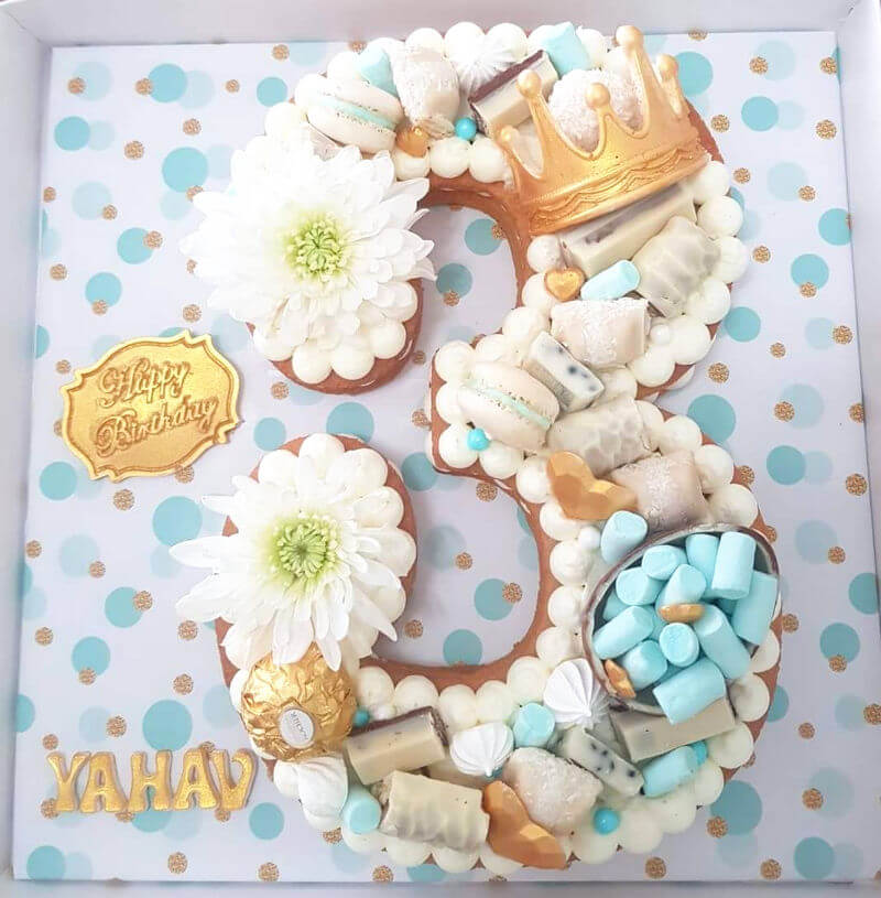 עוגת מספרים ליום הולדת לבן