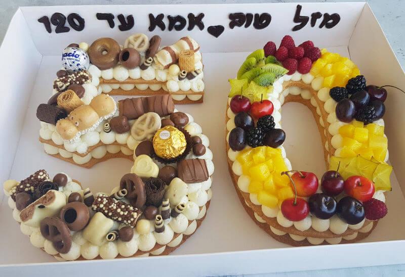 עוגת מספרים ופירות לאמא 50