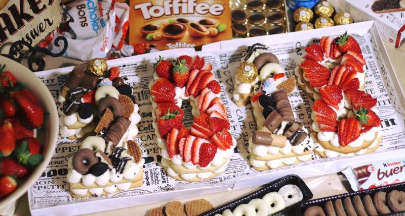 עוגת מספרים פירות ושוקולדים 2018
