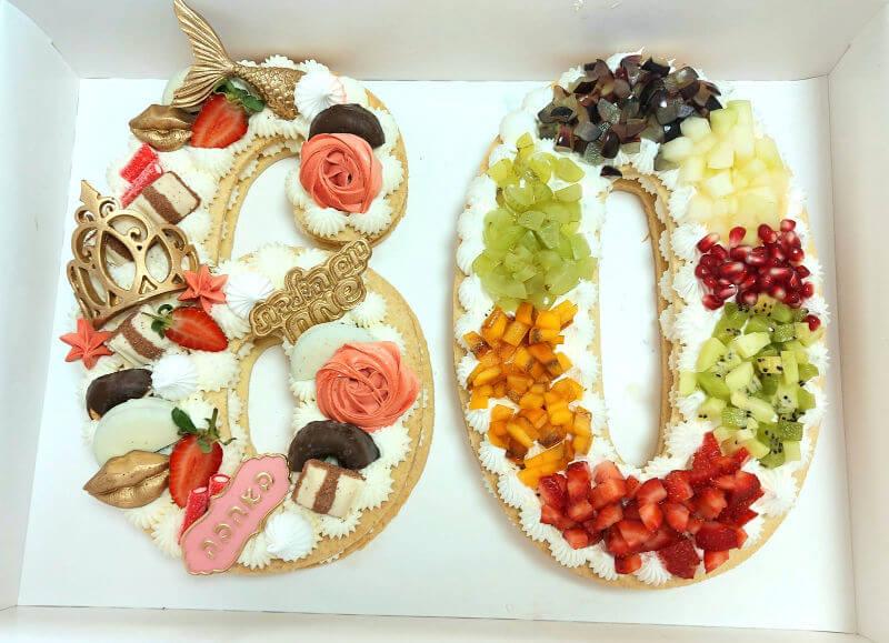 עוגת מספרים פירות לגיל 60