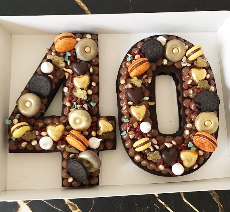 עוגת מספרים שוקולד לגיל 40