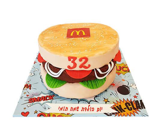 עוגת מקדונלדס בצורת המבורגר