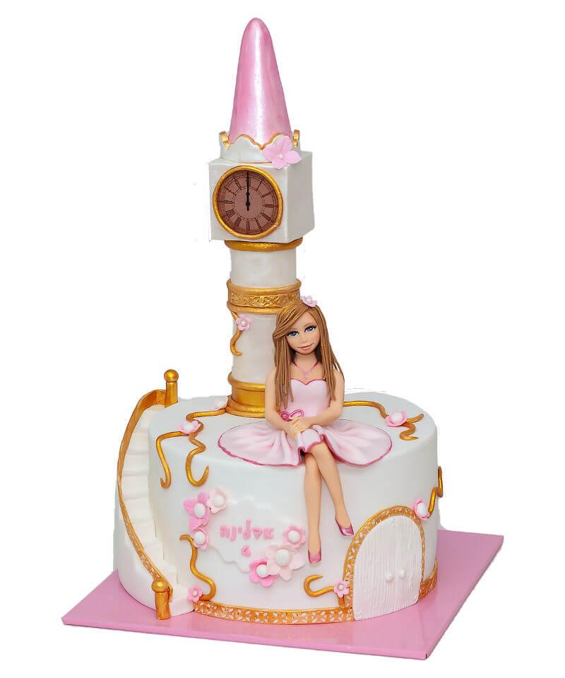 עוגת נסיכה במגדל מבצק סוכר