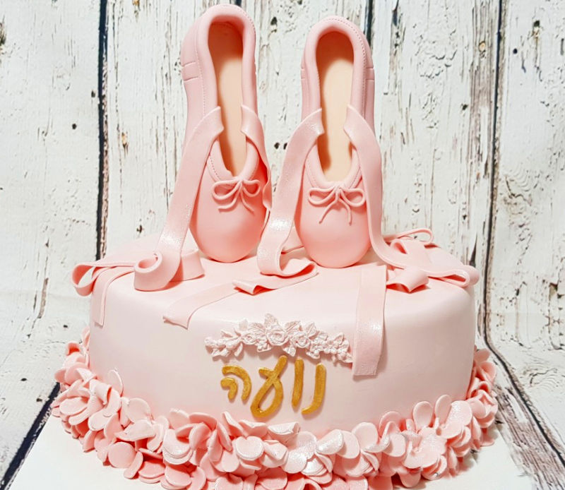 עוגת נעלי בלט מבצק סוכר כשרה