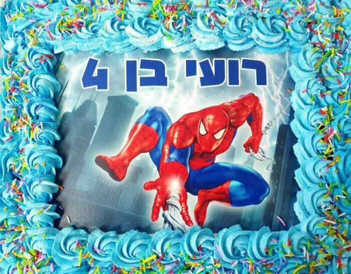 עוגת ספיידרמן מלבנית לגן
