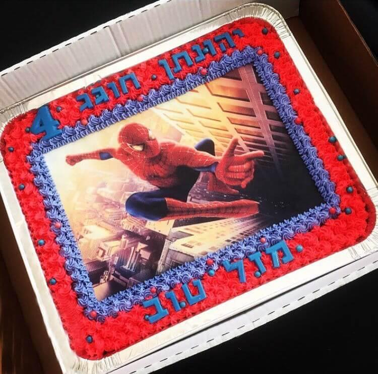 עוגת יום הולדת ספיידרמן מלבנית לגן
