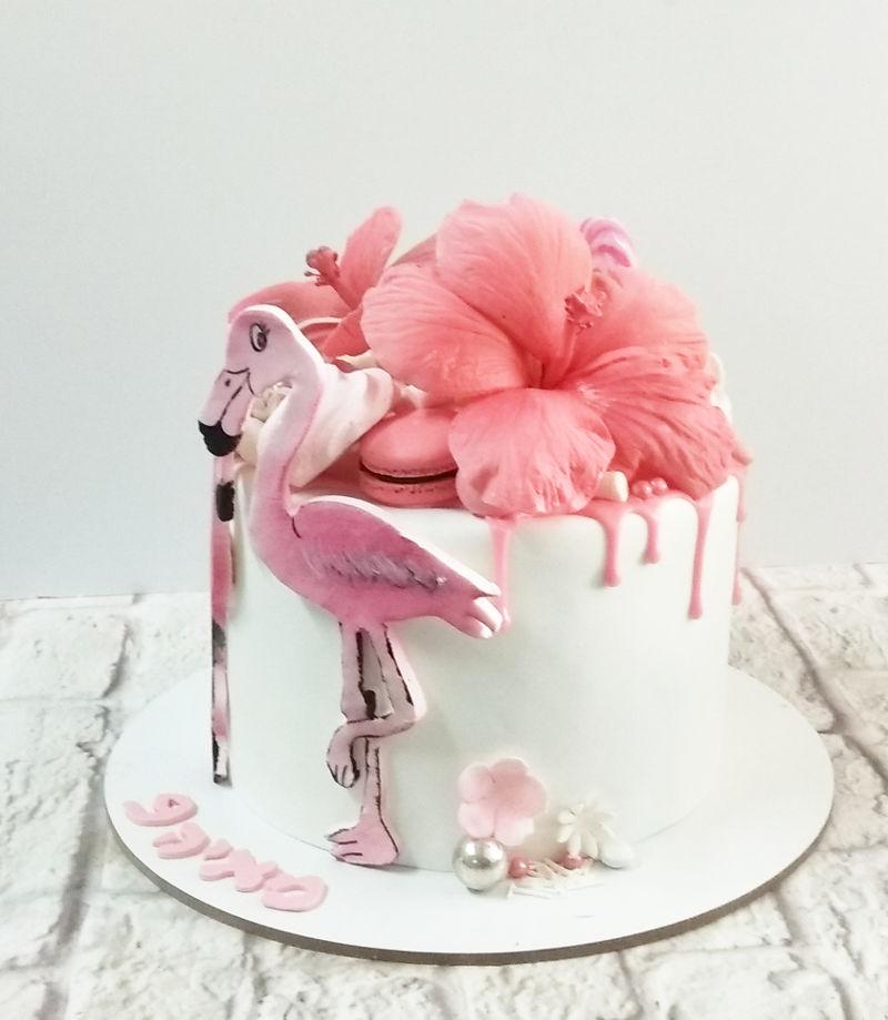עוגת פלמינגו מבצק סוכר