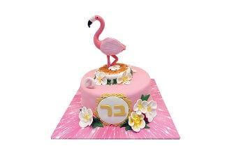 עוגת פלמינגו מדהימה מבצק סוכר