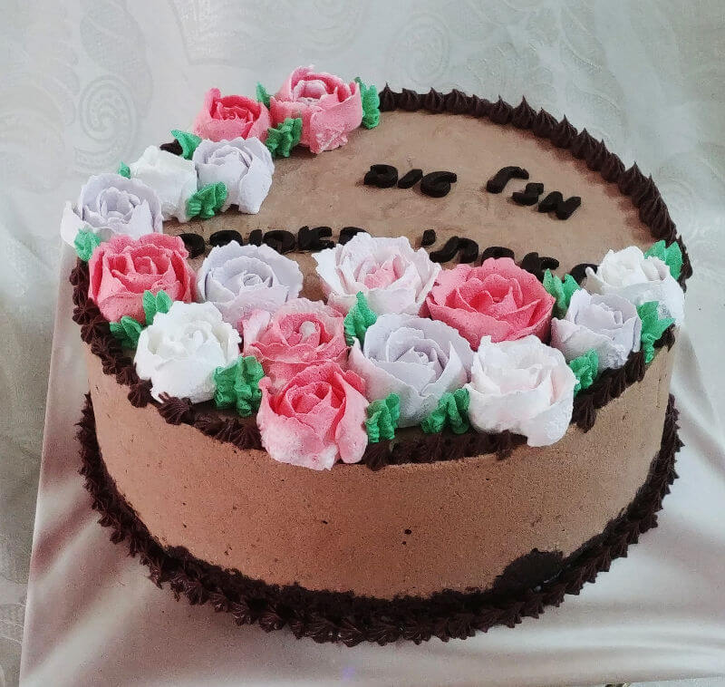 עוגת יום הולדת פרחי שוקולד