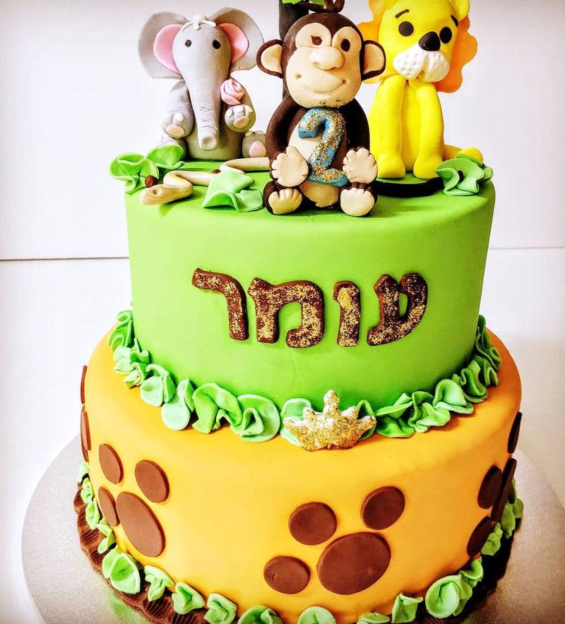 עוגת חיות מבצק סוכר