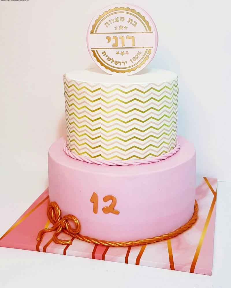 עוגת קומות מדהימה לבת מצווה עם בצק סוכר