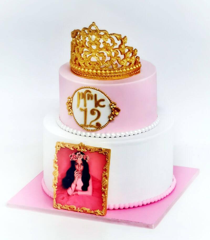 עוגת קומות מעוצבת לבת מצווה עם תמונה