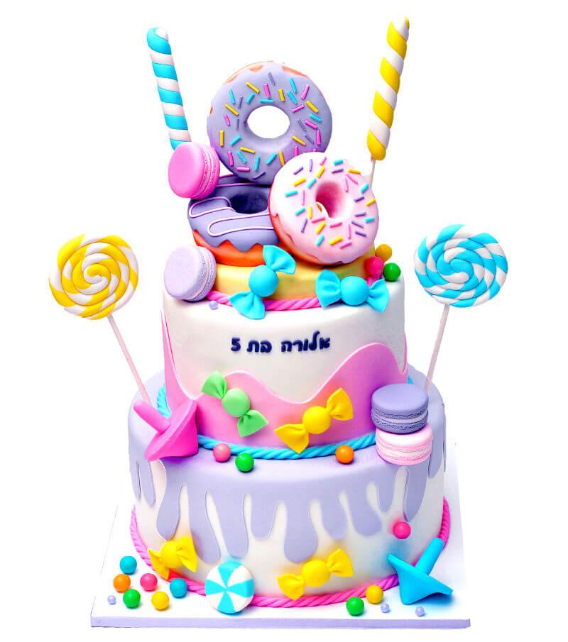 עוגת קומות מבצק סוכר