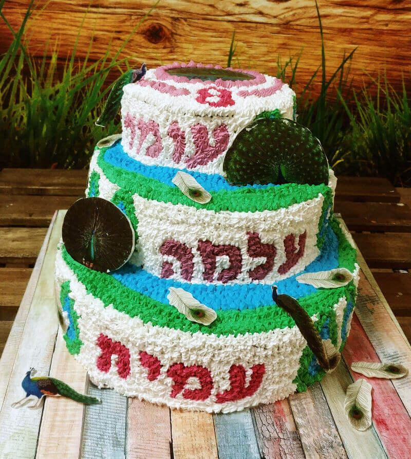 עוגת קומות מעוצבת טווס