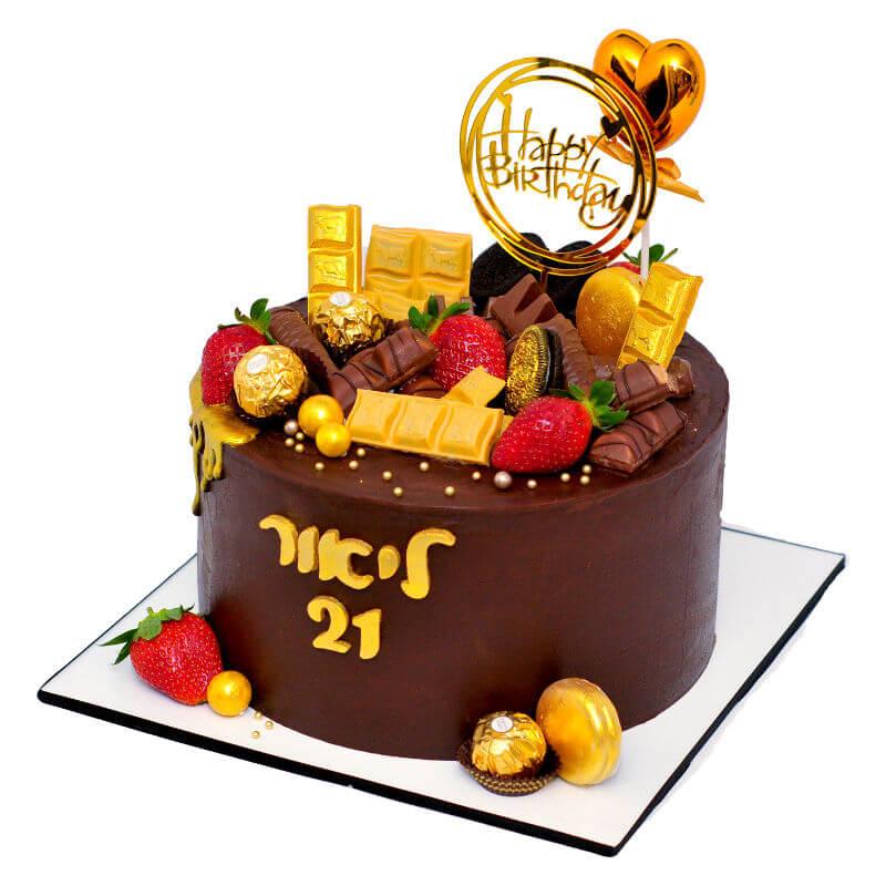 עוגת שוקולד וממתקים ליום הולדת