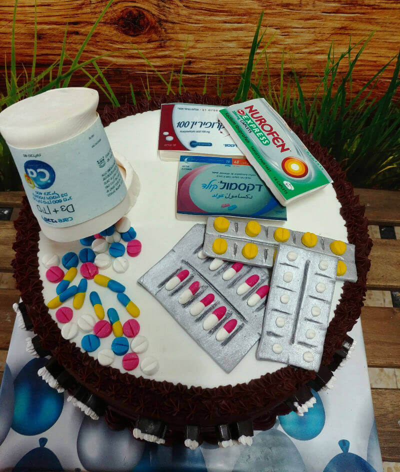 עוגת תרופות מיוחדת מבצק סוכר
